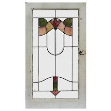 Antique American Floral Stained Glass Windows, Early 1900s