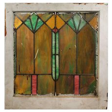 Antique American Arts & Crafts Stained Glass Window, Slag Glass