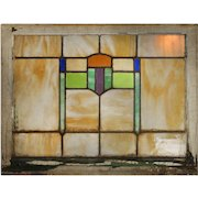 Antique American Arts & Crafts Stained Glass Window with Shield