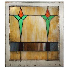 Antique American Arts & Crafts Stained Glass Window, Early 1900s