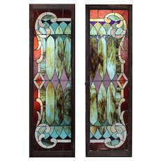 Antique American Stained Glass Wardrobe Door Pair