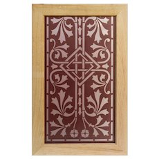 Antique American Acid-Etched Flash Glass Window