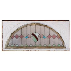 Antique Arched American Stained Glass Transom, c.1890