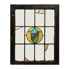Antique American Tudor Stained Glass Window, Shield