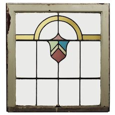 Antique American Stained Glass Window with Shield
