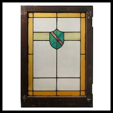 American Arts & Crafts Stained Glass Windows with Shield