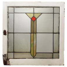 Antique American Arts & Crafts Stained Glass Window