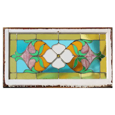 Lovely Antique American Stained Glass Transom with Flowers, c. 1900's