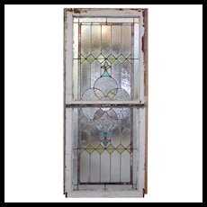 Antique American Stained & Leaded Glass Window Sash Set, c. 1910