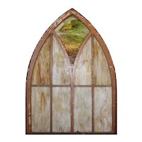 Antique Gothic Arch Window with Slag Glass, Early 1900's