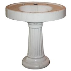 Reclaimed Antique Porcelain Pedestal Sink, Early 1900s