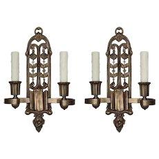 Beautiful Antique Spanish Revival Sconce Pair