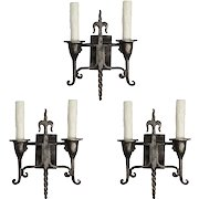 Antique Two-Arm Tudor Sconces  with Fleur-De-Lis, Early 1900s