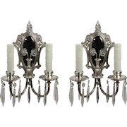 Antique Mirrored Neoclassical Sconce Pair with Prisms