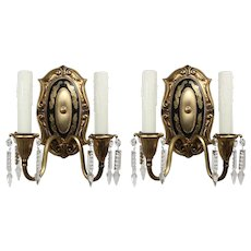 Antique Neoclassical Gilded Double-Arm Sconce Pair