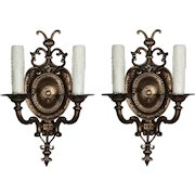 Antique Pair of Cast Bronze Sconces with Pineapples