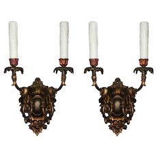 Pair of Antique Cast Bronze Sconces with Original Polychrome, Early 1900s