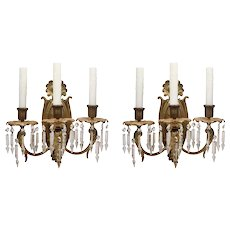 Antique Neoclassical Three-Arm Sconce Pair with Spear Prisms