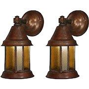 Arts & Crafts Lantern Sconce Pair, Antique Lighting
