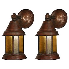 Arts & Crafts Lantern Sconce Pair, Antique Lighting