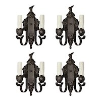 Cast Iron Sconce Pairs with Artichokes, Antique Lighting