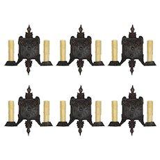 Tudor Double-Arm Sconces, Antique Lighting