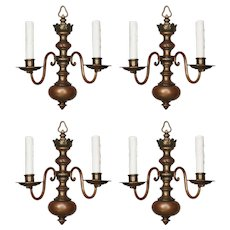 Antique Colonial Revival Sconces, Signed E. F. Caldwell