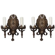 Spanish Revival Sconce Pair, Antique Lighting