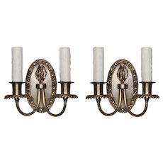 Antique Sconce Pair in Brass, Early 1900s