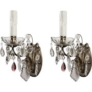 Neoclassical Sconce Pair with Prisms, Antique Lighting