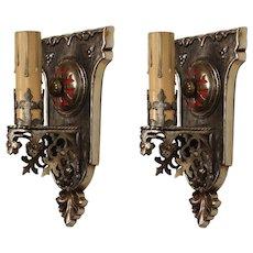 Tudor Sconce Pair with Fleur-De-Lis, Antique Lighting