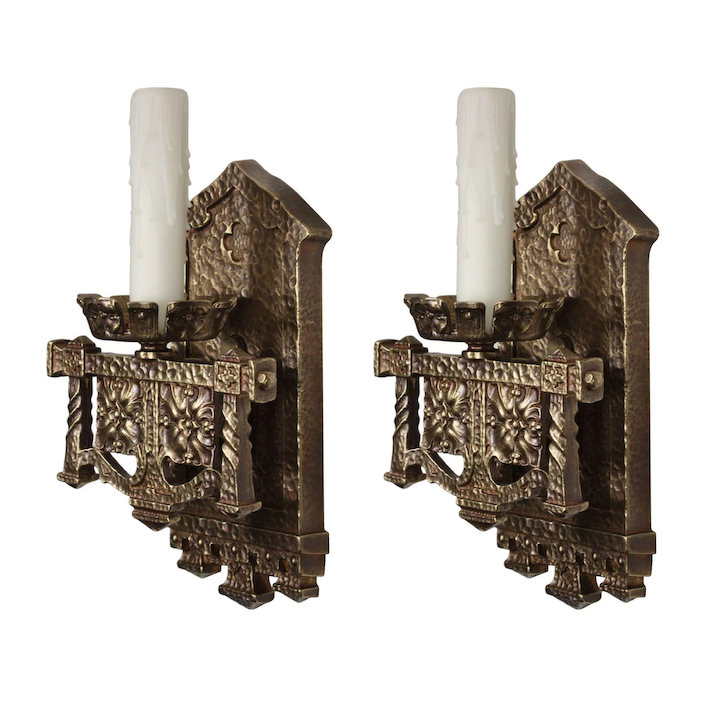 Gothic Revival Sconce Pair In Cast Bronze Antique Lighting