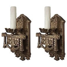 Gothic Revival Sconce Pair in Cast Bronze, Antique Lighting