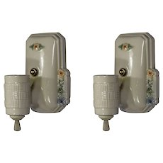 Antique White Porcelain Sconce Pair, Painted Flowers