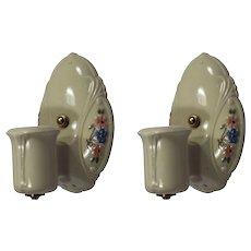 Antique Porcelain Sconce Pair, Painted Flowers