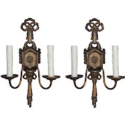 Neoclassical Double-Arm Sconces, Antique Lighting