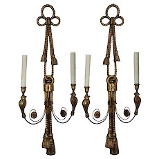 Neoclassical Figural Wooden Sconces with Birds, Antique Lighting