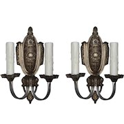 Neoclassical Double-Arm Sconces by Riddle, Antique Lighting