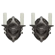 Antique Neoclassical Sconce Pair with Prisms, Early 1900s