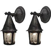 Tudor Lantern Sconce Pair with Figural Details, Antique Lighting