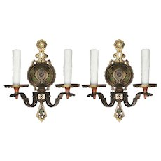 Antique Art Deco Sconces in Bronze, Original Polychrome