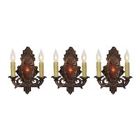 Antique Cast Iron Sconces with Mica, Early 1900s
