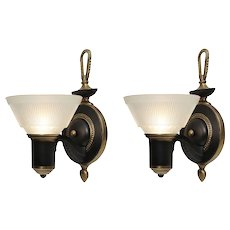 Antique Art Deco Sconce Pair with Sit-In Shades