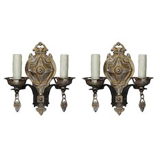 Antique Tudor Double-Arm Sconces, Early 1900s