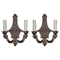 Pair of Antique Neoclassical Double-Arm Sconces