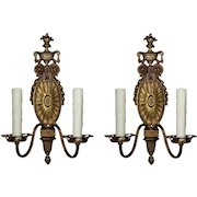 Adam Style Double-Arm Sconces by Halcolite, Antique Lighting