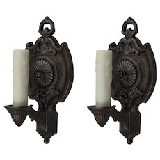 Neoclassical Cast Iron Sconces by Markel, Antique Lighting