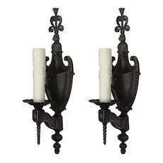 Neoclassical Cast Iron Sconces by Lowry Electric, Antique Lighting
