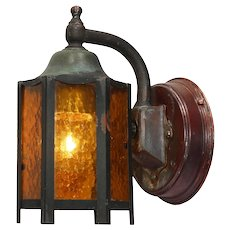 Arts & Crafts Exterior Wall-Mount Lantern, Antique Lighting