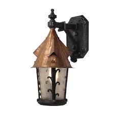 Tudor Cast Iron & Copper Lantern Sconce by Lightolier, Antique Lighting